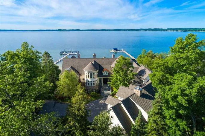 Aerial view of mansion in Charlevoix, MI