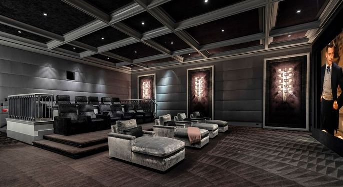 Aaron Spelling had created a film editing room behind the screen of the home's movie theater.