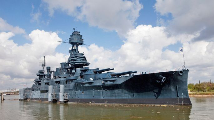 The battleship Texas, permanently docked in La Porte, TX