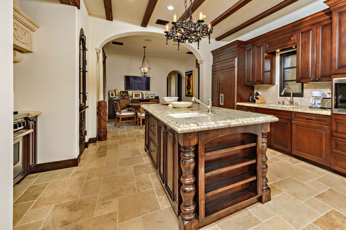 Kitchen with stone and wood island