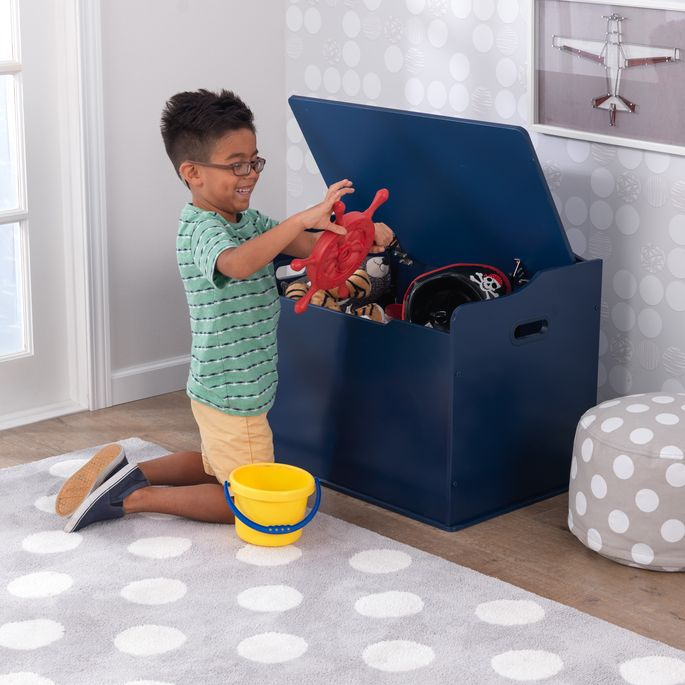 A toy box is a must-have to keep things put away.