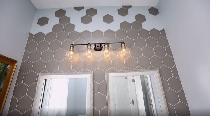 This bathroom tile adds a unique look.