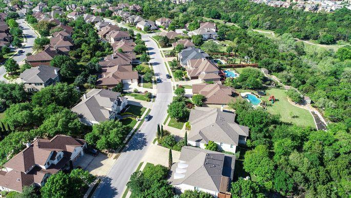 Cedar Park , Texas Homes and suburb neighborhood aerial drone view