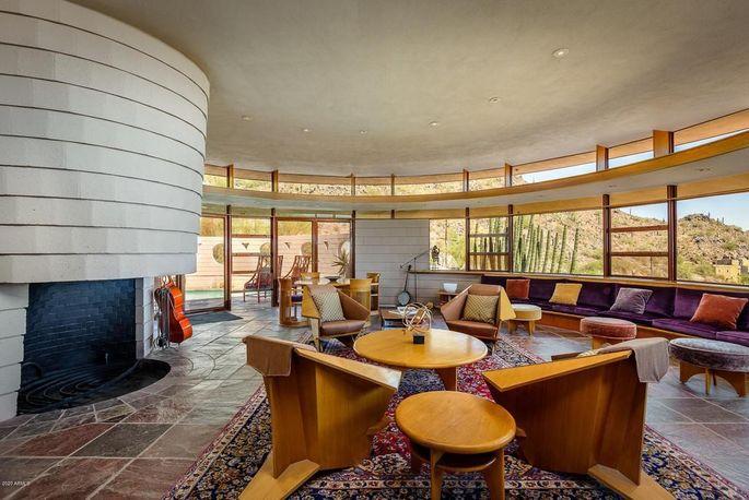Living room in Frank Lloyd Wright home in Phoenix