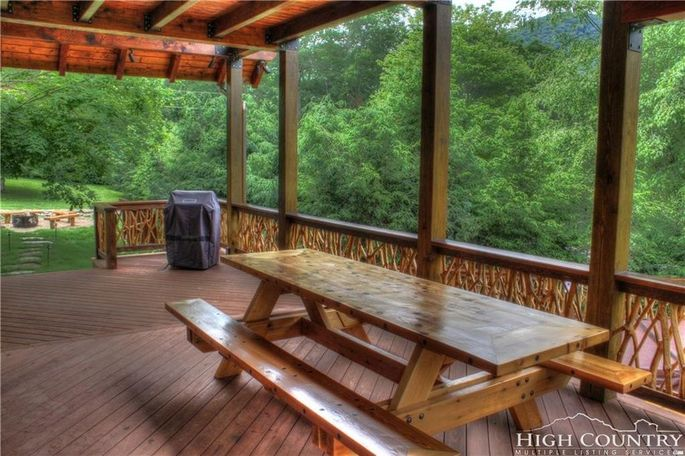 Deck withhandcrafted picnic table