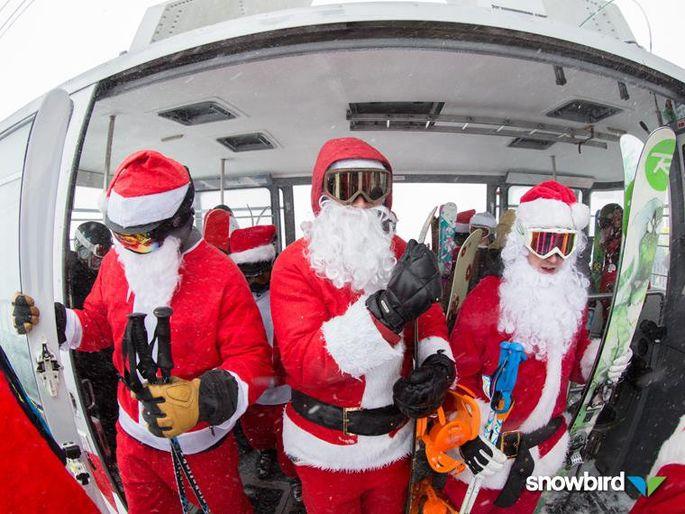Ski Santas at Snowbird Ski Resort: not down with snowboarding yet