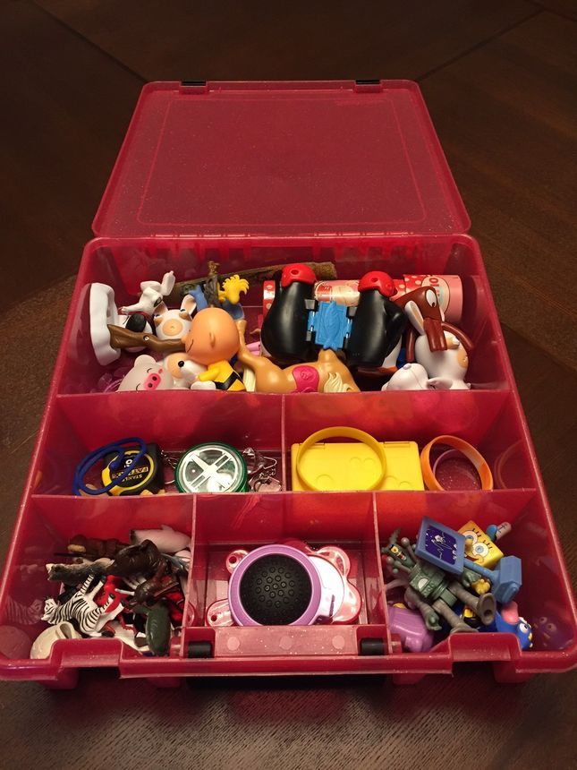 Hardware containers work perfectly for organizing smaller toys.