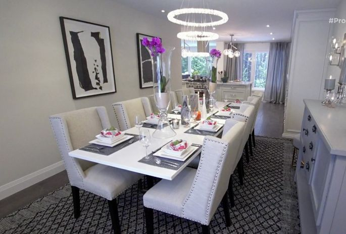 """The """"hotel chic"""" dining room with neutral colors."""