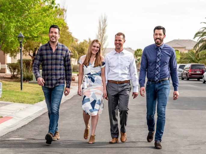 """""""Property Brothers"""" stars Jonathan and Drew Scott with Las Vegas homeowners Susan and Troy"""