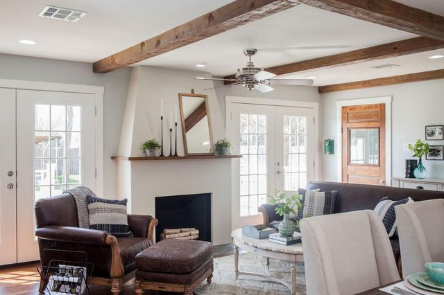 Salvaged wooden beams and French doors are among Joanna's favorite devices.