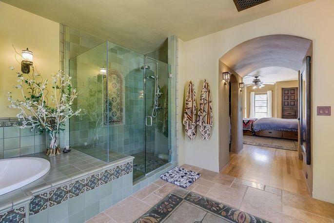 Master bathroom with stylish tile