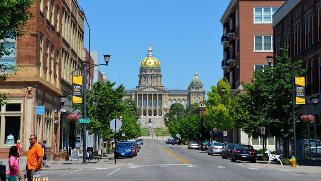 View of Iowa State Capitol from East Village, Des Moines, IA.