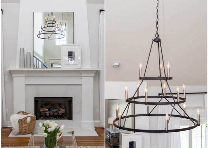 Adding dramatic light fixtures draws attention to the high ceilings.