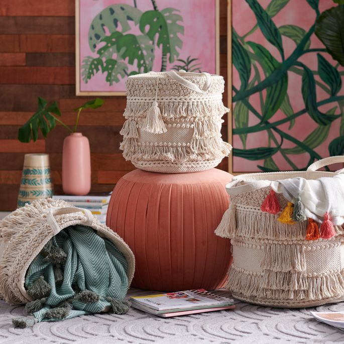 The boho-chic baskets hold everything from magazines and toys to blankets and books.