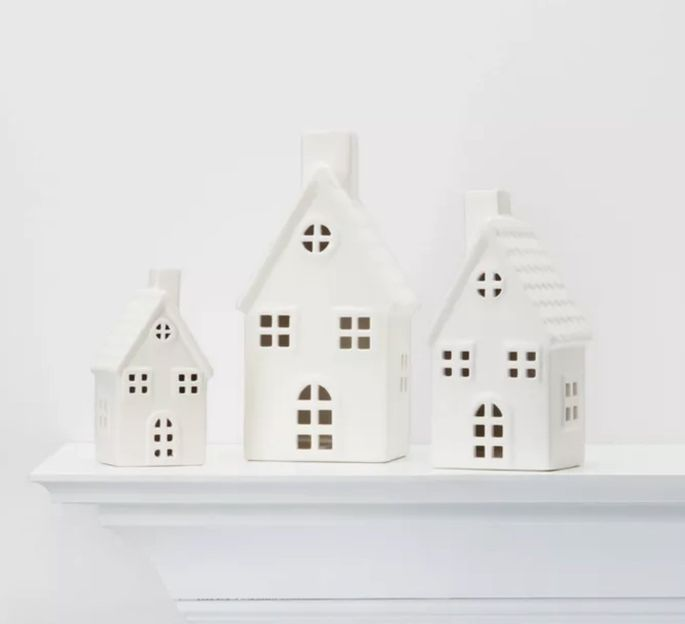 Set up these adorable houses on a coffee table or bookcase bay.