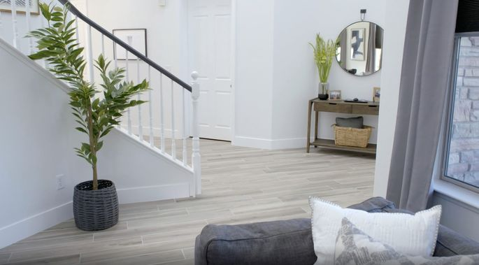 This flooring looks like wood, but it's much more durable.