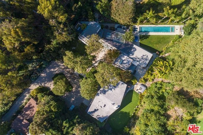 Aerial view of the Rustic Canyon compound