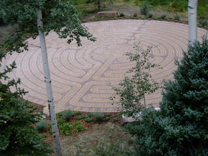 A full-scale replica of the labyrinth in Chartres cathedral in France