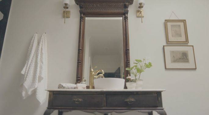 This vanity is old, but the sink is new.