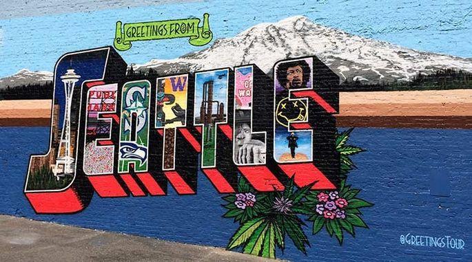 Street art in Belltown, WA: Wish you were here