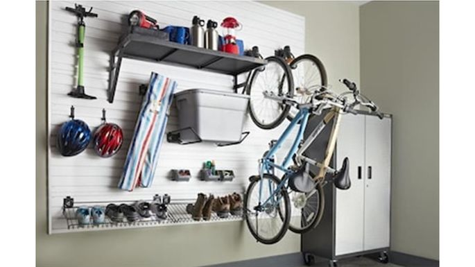 Sturdy hooks keep bikes safely stored.