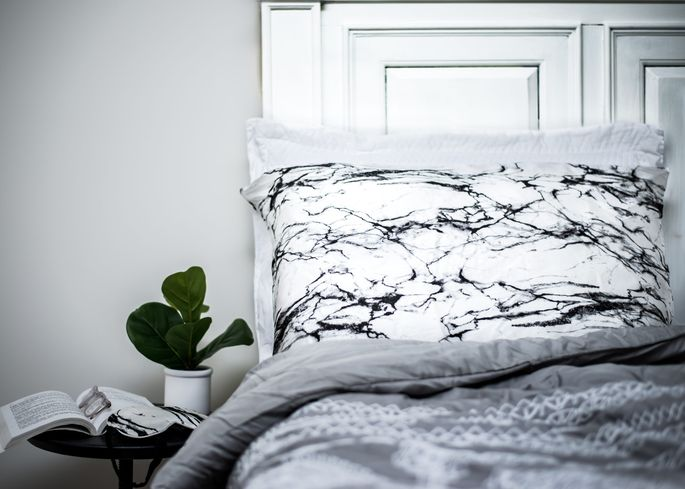 Celestial Silk's white marble pillowcase is as glamorous as it is comfy.