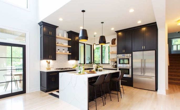 Graphite black is a popular color for kitchen cabinets and window and door frames.