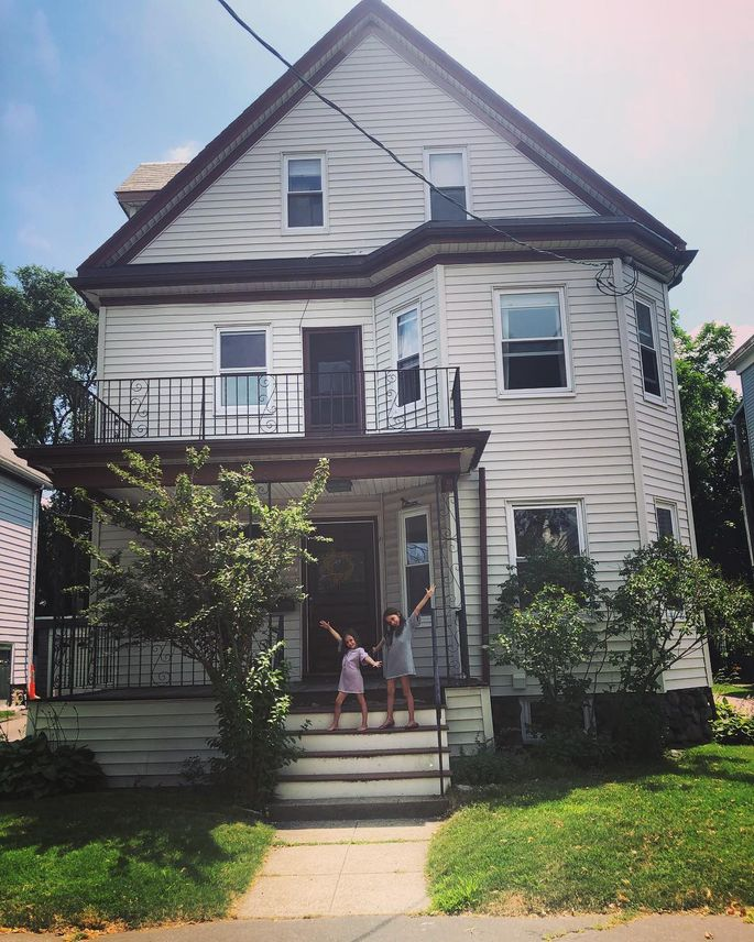 The Migliaccis' rental, a second-floor apartment in Belmont, MA, was affordable enough that they were able to save to buy a house.