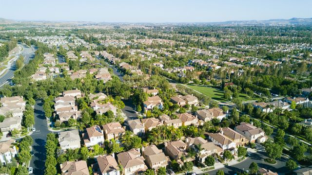 Aerial view of neighborhood in Irvine