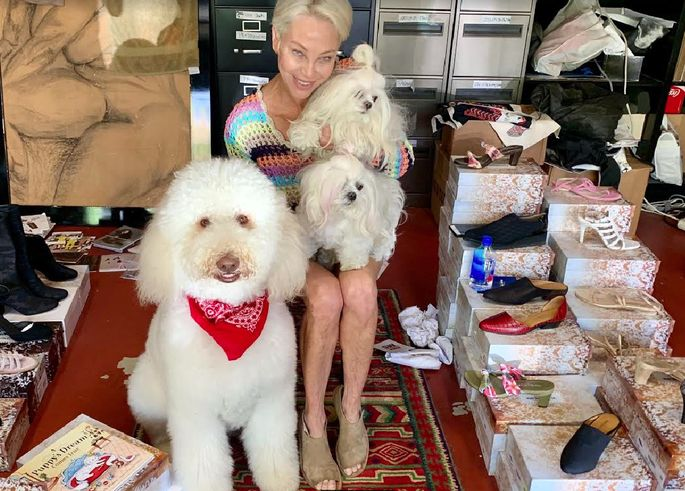 Lisa Pliner and her pups Sunset and Moonlite, with their buddy Frankie Feldman
