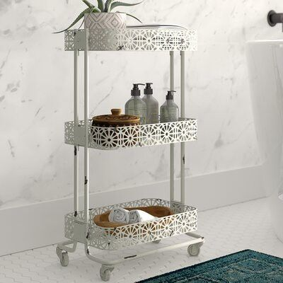 This cart adds instant bathroom storage.