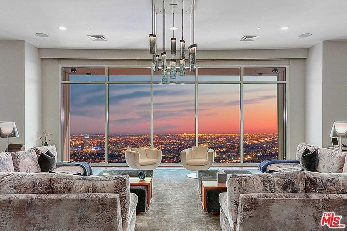 Living room with sunset view