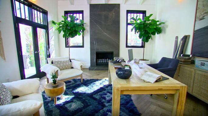 Christina's stylish living room-turned-office.