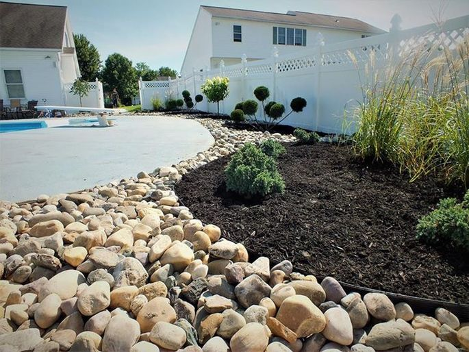 Simple rock features can cut down on maintenance.