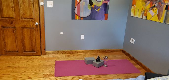 "Elizabeth's new virtual yoga ""studio"" in the farmhouse"