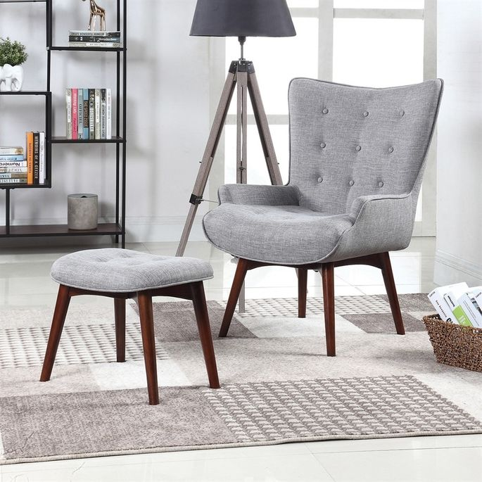 Wingback chair with ottoman