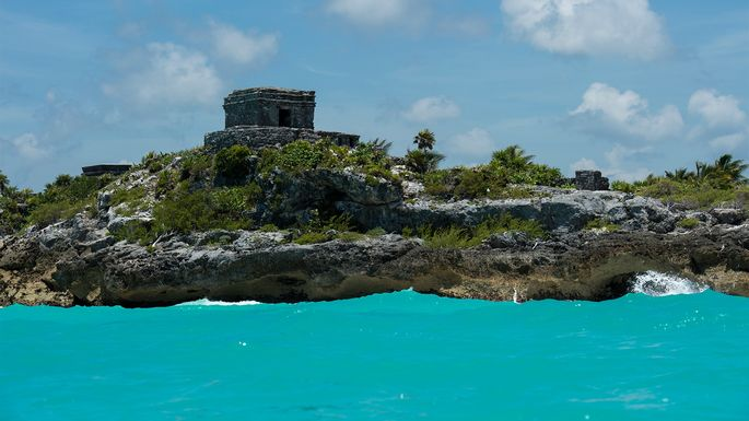 Ruins of Tulum a Pre-Columbian Mayan walled city in Tulum.