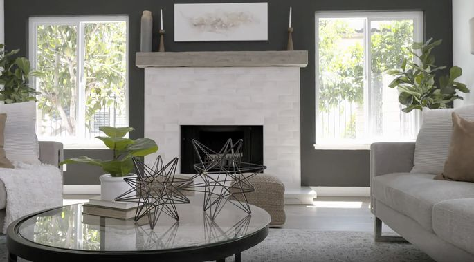 Anstead insisted on a modern white fireplace.