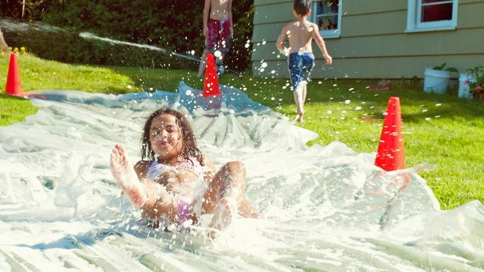 Homemade slip 'n' slide