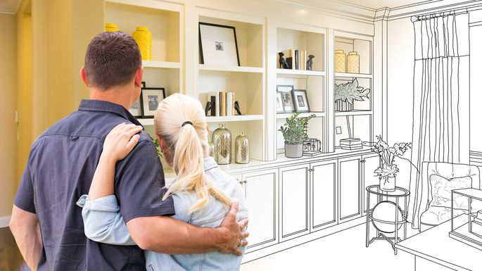 Couple Facing Book Shelf Built-in Drawing Gradating To Photo
