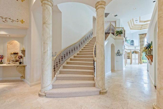 Dramatic marble columns in the foyer