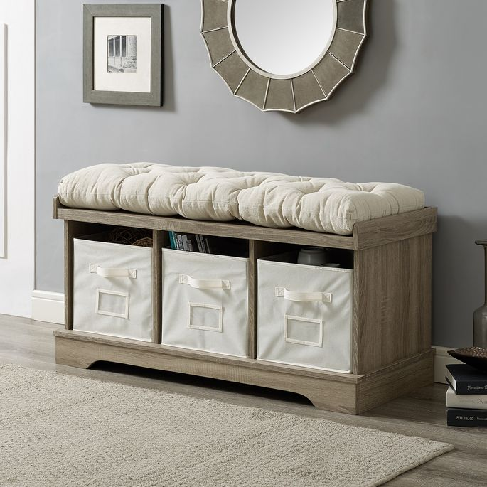 A storage bench adds extra seating and a place to stash items out of sight.