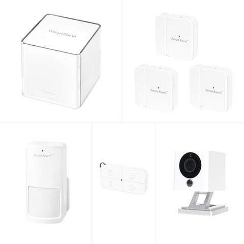 iSmartAlarm security package with cameras, motion sensors, and door/window alarms