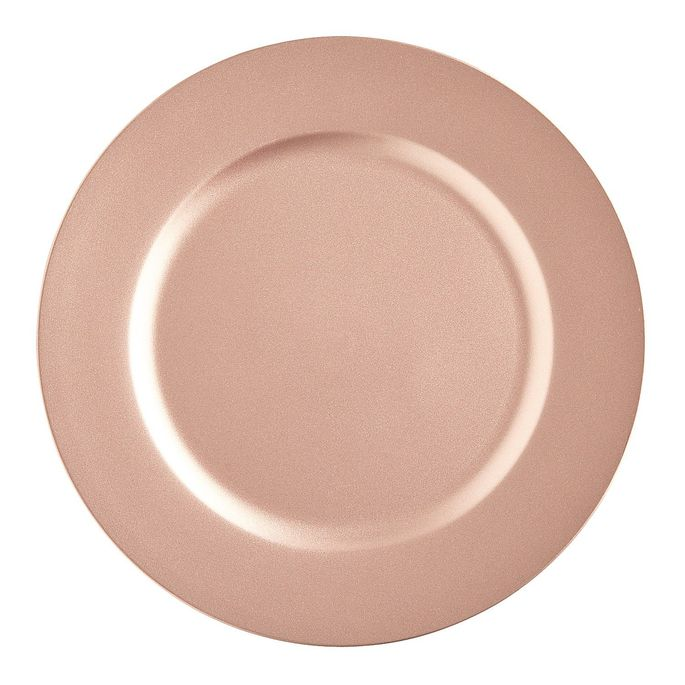 Affordable pink chargers are ideal for a rosy dinner party.