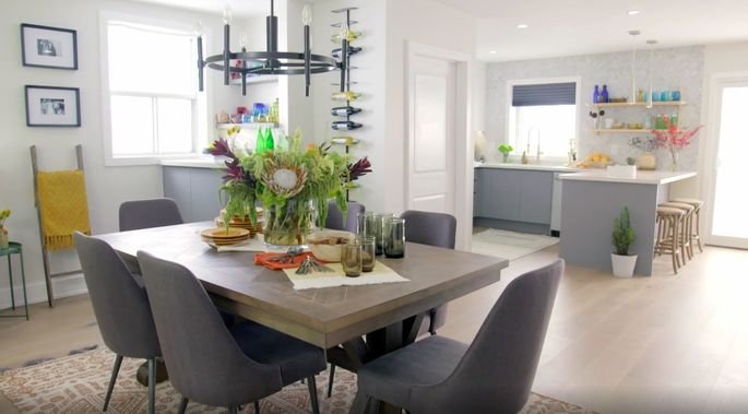 This dining room flows perfectly to the kitchen.