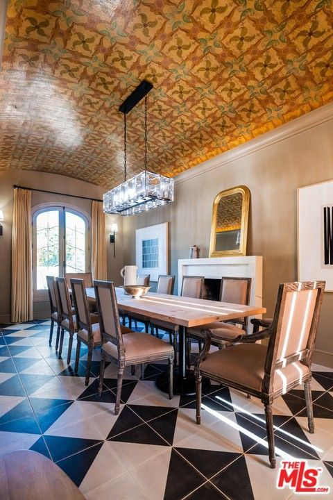 Dining room with original hand-painted barrel ceiling