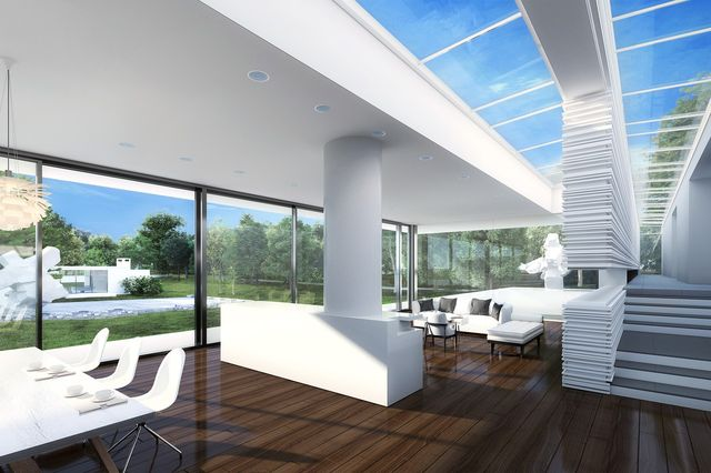 Glass walls in the new home, shown in a rendering, will frame a view of the Ball House, which Mr. Bakh plans to turn into an art gallery.