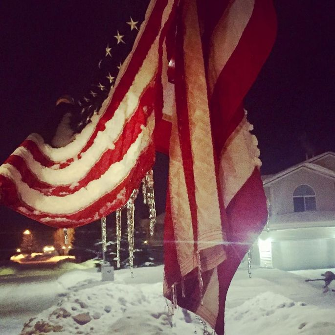 American flags should never be rained on, snowed on, or otherwise left out in bad weather.