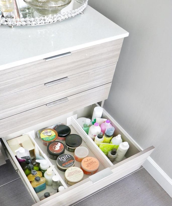 Organized bathroom drawers make it much easier to find what you need.