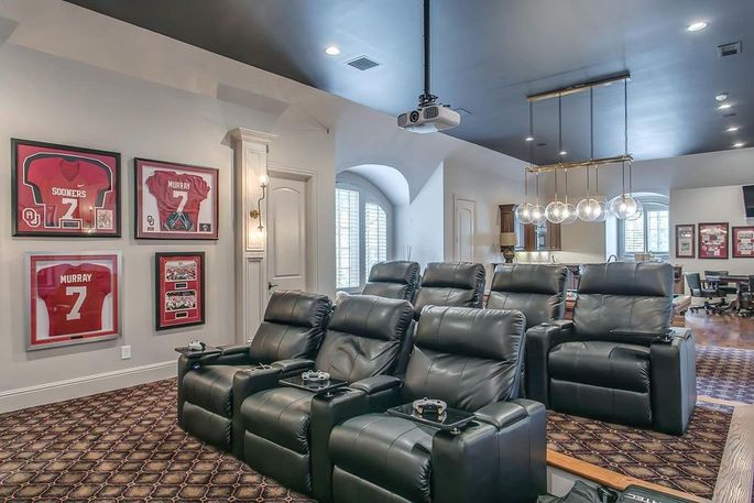 Home theater and sports memorabilia